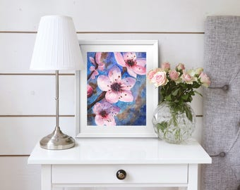 Cherry Blossoms Flower Botanical Watercolor Print 8x10 or 8.5x11