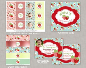 Strawberry Birthday Party, Strawberry Birthday Decorations, Strawberry Birthday, Strawberry Party, Strawberry Fields, Printable Party