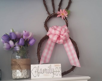 Ready to Ship! Easter bunny wreath || Pink Gingham Bow || Pink Flower || Happy Easter || Home Decor || Easter decoration