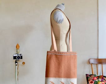 Wool Tote Bag Flying Ducks Caramel Brown & Beige / Tall Large Size Shopping Bag / Cotton Lined