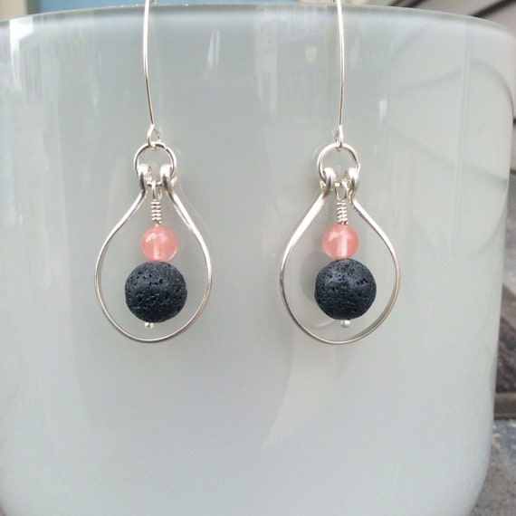 Sterling Silver, Lava Rock and Cherry Quartz Essential Oil Earrings