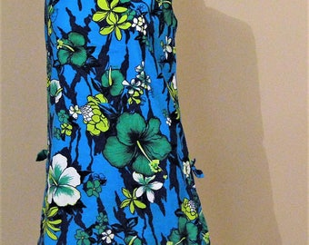 Vintage Dress Royal Hawaiian Shift Aqua & Blue