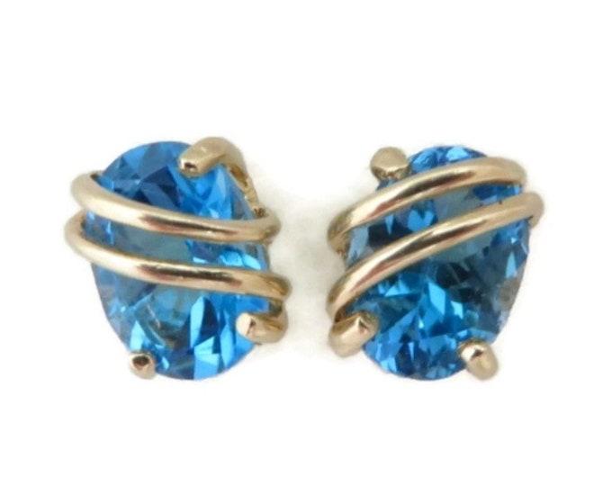 Blue Topaz Earrings, Gold Earrings, 14K Gold Studs, Stud Earrings, Bridal Earrings, Stone Earrings, Gold Post Earrings, Unique Earrings