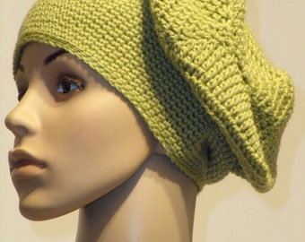 Crocheted Beanie in bright olive green