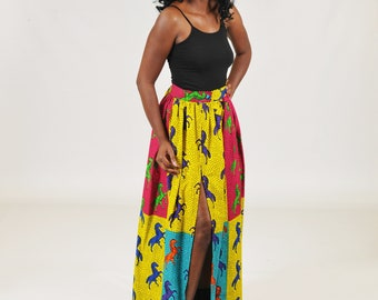 Ankara High Slit Maxi  Skirt