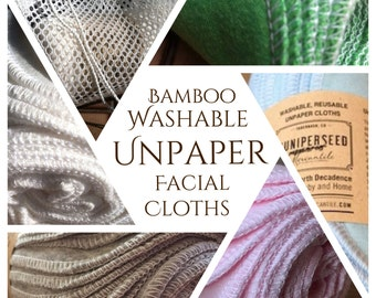 "Organic BAMBOO Alternative to Facial Tissues 8"" x 10"" Full Size - You Pick Color and Quantity - Bonus Mesh Wash Bag"