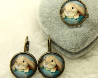 Rabbit jewelry set, Rabbit earrings, Rabbit ring 1616