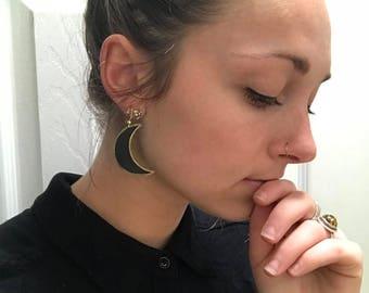 Handmade Leather Moon Earrings // Bohemian Leather Earrings // Black & Gold Moon Earrings