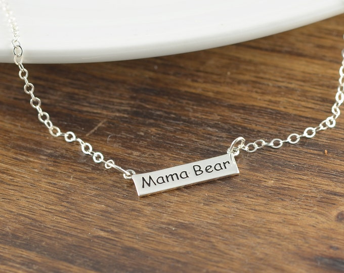 Mama Bear Necklace, Personalized Mother Necklace, Mommy Necklace, Mothers Day Gift, Gift for Mom, Mother's Jewelry, Mom Gift, Mom Necklace