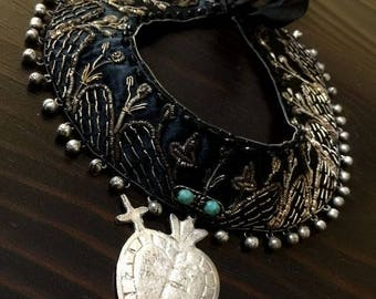Vintage India Collar/Bib Necklace, Sacred Heart Necklace/Choker, OOAK Necklace, Re-Purposed Collar Necklace, Goth, Bohemian