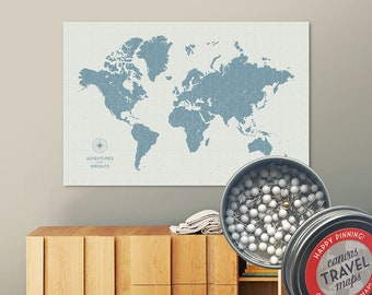 Vintage Push Pin Map (Seaglass) Push Pin World Map Pin Board World Travel Map on Canvas Push Pin Travel Map Personalized Gift for Family