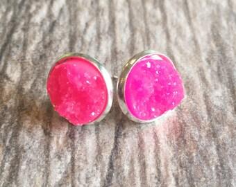 Hot Pink Druzy Earrings,  Resin Druzy Earrings, Gemstone Earrings, Druzy Stud Earrings, Druzy Jewelry