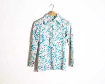 Vintage 70s Abstract Print Disco Pullover Blouse Size S/M