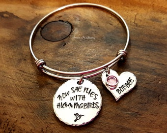 Now She Flies With Hummingbirds Bangle, Hummingbird Memorial Brcelet, In Memory of Bangle, Sympathy Gift For Her, Hummingbird Jewelry
