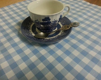 Vintage Pale Blue and White Check Gingham Tablecloth / Retro Blue Checkered Tablecloth
