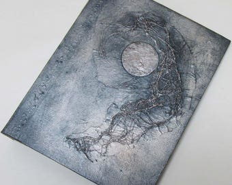 Handmade Journal Refillable Moon Silver Black 9x7 Original traveller notebook fauxdori