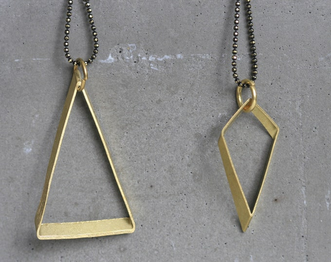 Various Geometric Brass Pendant and Faceted Brass Chain Necklace | Minimalist | Gift