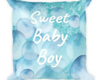 Square Pillow sweet baby boy on blue bubbles
