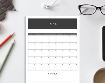 Printable Calendar A4 Black and White 2018/template/big calendar/black/A4 format/printable/calendar template/digital download
