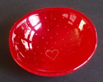 Fused glass bowl -  red with gold heart and dots