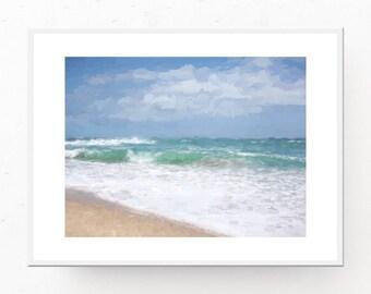 Ocean Art Print   Ocean Painting   Printable Wall Art   Digital Download   Ocean Prints   Coastal Art Print   Ocean Printable   Waves