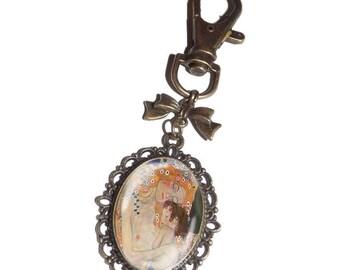 porte clef, bijou de sac,cabochon en verre,klimt la mere et l enfant