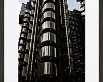 Industrial Building print urban London Lloyd's architecture photo, photography, fine art, wall art, home decor, HDR metallic metal shiny