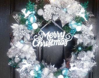 Silver Christmas Wreath, Winter Wreaths For Front Door, Winter Wreath, Christmas Wreath Silver, Holiday Wreath, Christmas Wreath Silver Blue