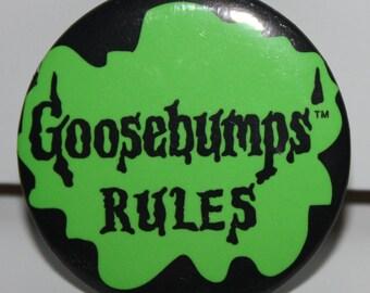 Promotional Goosebumps Rules R.L. Stine GOOSEBUMPS RULES Pinback Button 1995