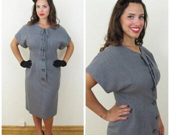 30% Off Sale 50s Gray Wool Short Sleeve Day Dress, Size Medium