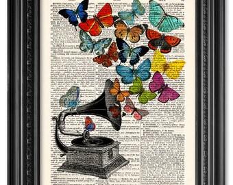 Butterflies Gramophone print, Dictionary art print, Vintage book art print, upcycled dictionary page, Home Wall Decor, Gift poster [ART 088]