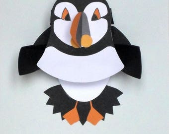 The Puffin card * pop up * birds * paper cut and pasted * handmade