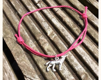 Pink Cord Wolf Charm Anklet