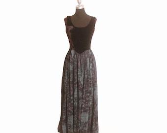 Vintage 1970s Crushed Velvet Art Deco Long Maxi Empire Waisted Dress size L