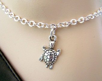 Sea Turtle Anklet, Silver Chain Petite to Plus Size Ankle Bracelet, Custom Lengths