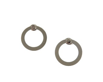 Circle Earring Jackets; Circle Earrings; Circle Jewelry; Sterling Silver; Stud Earrings; Statement Earrings; Ear jackets; Silver; Ear Jacket