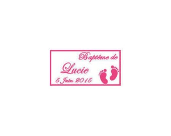 Pink labels favors baptism/birth of foot