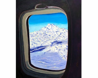 Denali Mountain Painting, Alaska Airlines Club 49 Art, Alaska Mountains, Gift for Pilot, Scott Clendaniel, Alaska Aviation, Mt McKinley Art