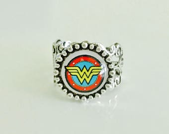 Wonder Woman Ring, adjustable ring, super hero jewelry