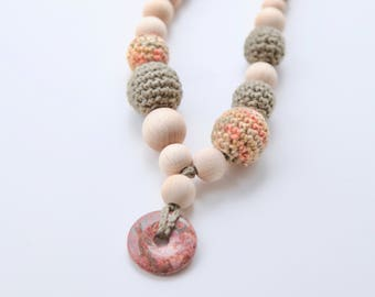 marshy and pale orange crochet necklace.  Nursing teething necklace with natural/gem stone.