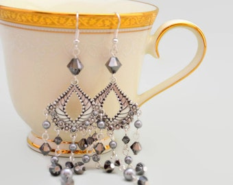 Sillver grey dangly Swarovski crystal and pearl earrings