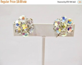 On Sale Vintage Sparkling Aurora Borealis Cluster Earrings Item K # 19