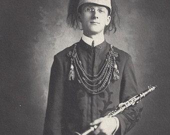 Orig Photo Clarinet boy marching Marine Military Band uniform ~ 1908 C.S.B. The Salvation Army