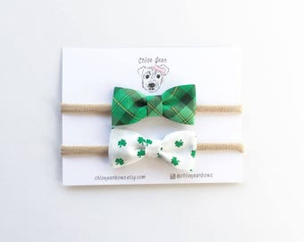 The Delaney Cotton St. Patrick's Day Pillow Bow, Green Plaid Bow, Shamrock Bow, Nylon Headbands, Small Bows, Toddler Hair Clips, Cotton Bow