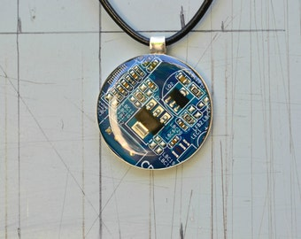 Modern Blue Circuit Board Statement Necklace, Geeky Techie 925 Sterling Silver Computer Necklace Jewelry