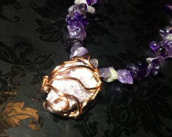Lepidolite (Mica) Wire Wrapped Pendant on an Amethyst Chip Bead Necklace