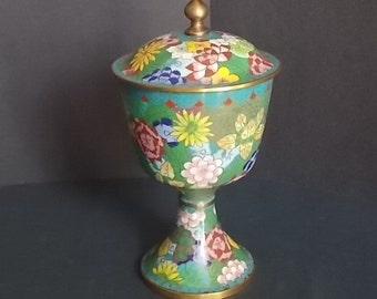 Chinese Covered Cloisonne Chalice FREE DOMESTIC SHIPPING