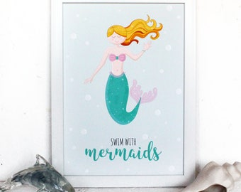 Mermaid Wall Art, Swim with Mermaids, Typography Art, Mermaid Bedroom Decor, Bedroom Wall Art, Mermaid Decor, Inspirational Wall Art, Gifts