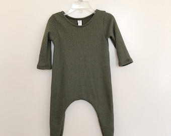 Olive Thermal Harem Romper- baby onesie, solid romper