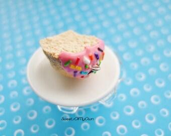 Best Friend Keychain - Strawberry Pink Cupcake with Rainbow Sprinkles - 2 Halves - Food Accessory - Handmade Polymer Birthday Gift
